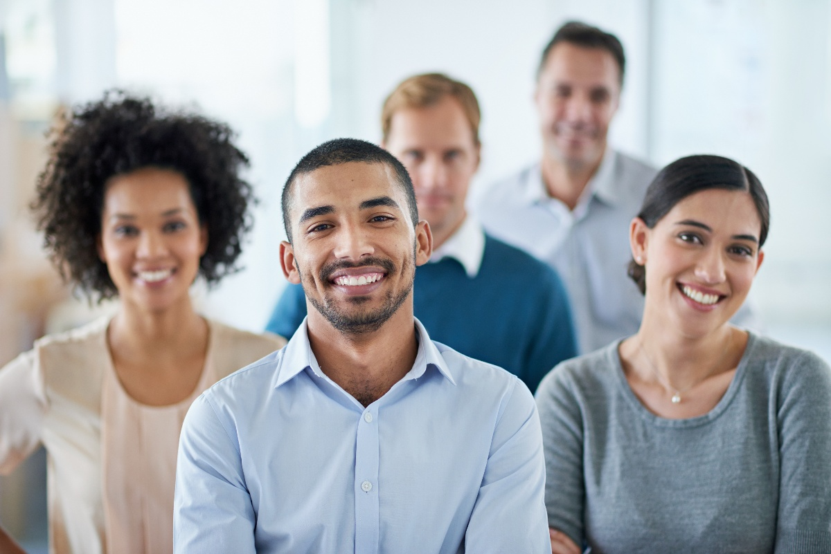 Business casual diverse employees at work