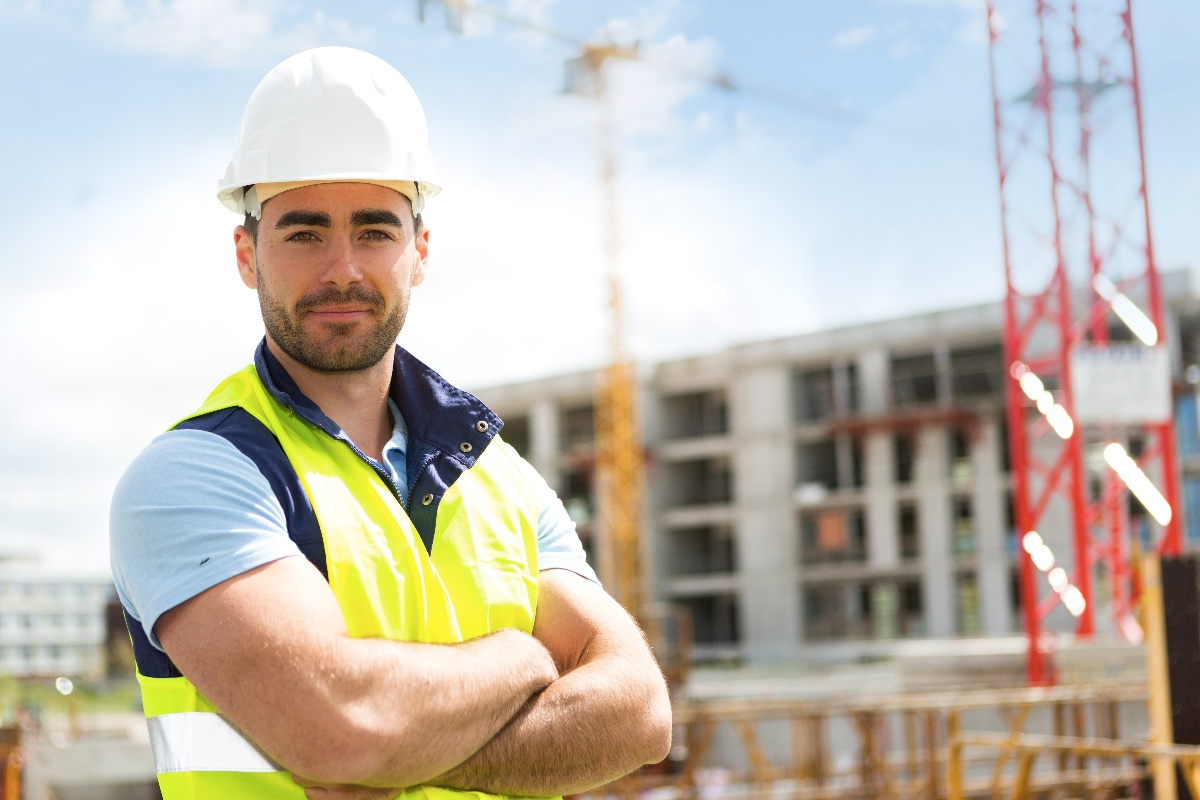 Construction worker young man standing on site-1